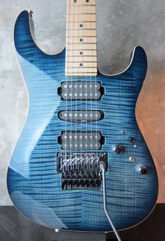 画像1: Tom Anderson Drop Top 7 String / Arctic Blue Burst with Binding