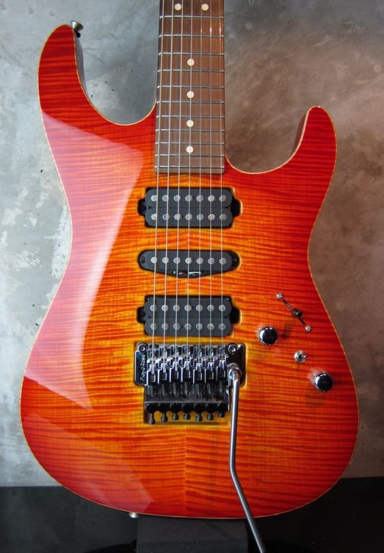 画像1: Tom Anderson Drop Top 7 String / Fire Burst with Binding
