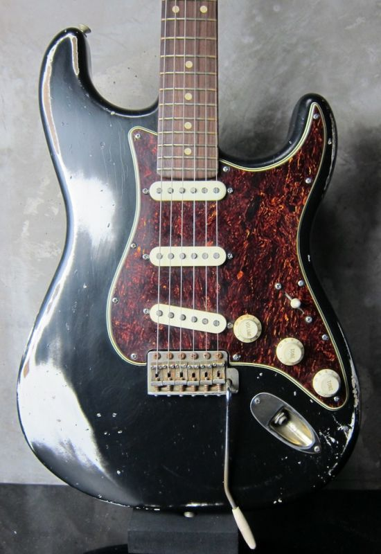 画像1: Davis Custom Guitars / Stratocaster VSS Relic / Flame Maple Neck / Black