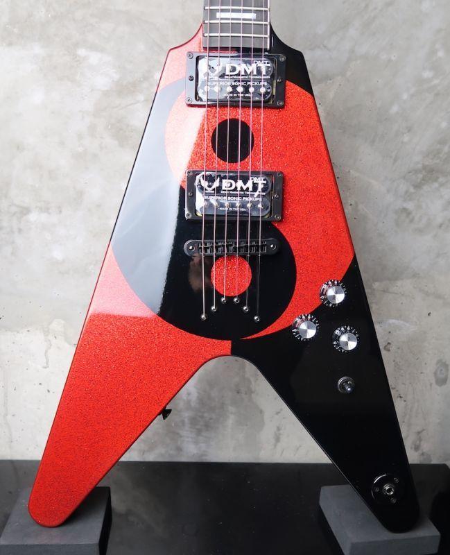 画像1: Dean USA Custom Shop Michael Schenker Flying V Yin Yang / Black & Red Sparkle