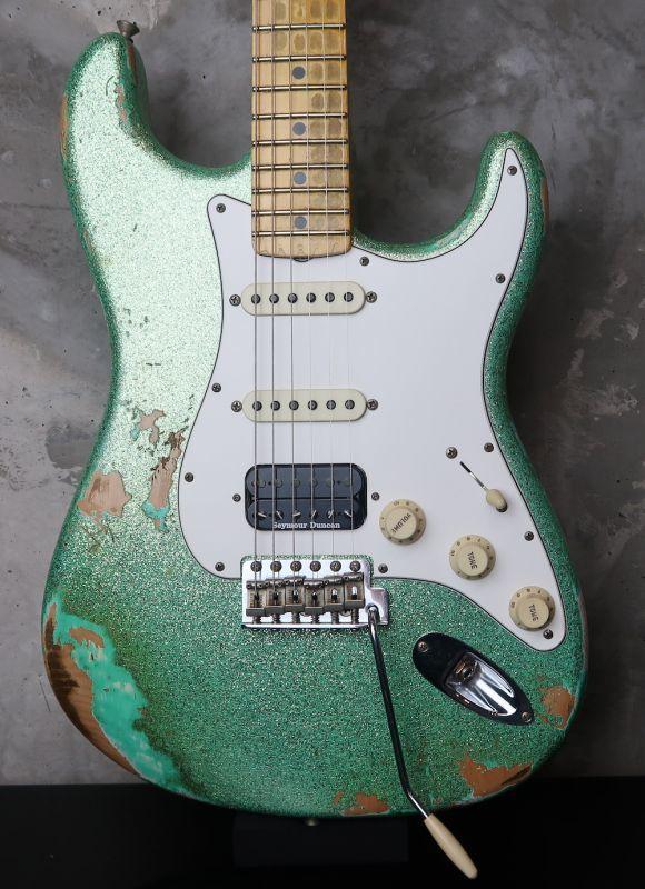 画像1: Fender Custom Shop 1969 Stratocaster SSH Heavy Relic / Trance Green LAC Spaekle