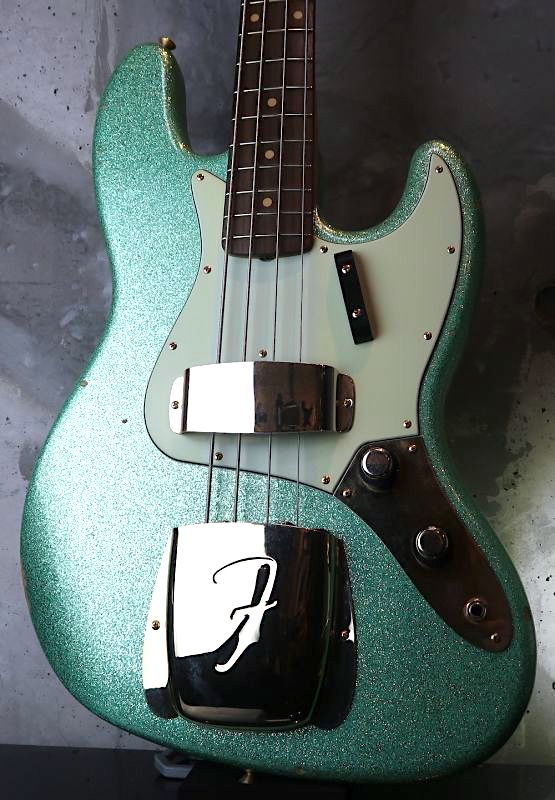 画像1: Fender USA Custom Shop Jazz-Bass '60s STACK KNOB/ Relic Aged /Green Sparkle